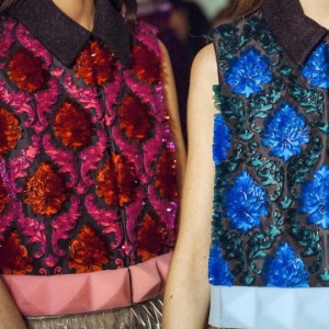 Berry tones and bold blues backstage at Mary Katrantzou A/W 15 (Photo credit: Instagram @marykatrantzou)