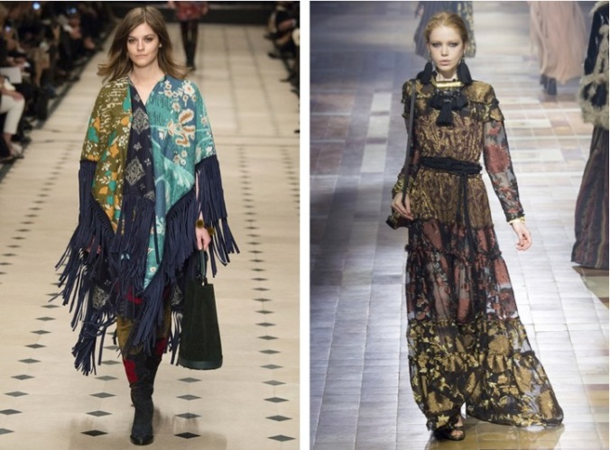 Boho commanded the catwalks. Left: Burberry; Right: Lanvin (Photos: Vogue/Indigital)