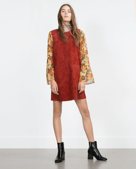 Layer floral blouses under suede dresses for that classic seventies vibe: Click here to buy from Zara (UK)