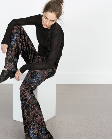 Flared, velvet printed trousers are a staple piece that will take you through to Autumn/Winter: Click here to buy from Zara (UK)  Photos: Zara