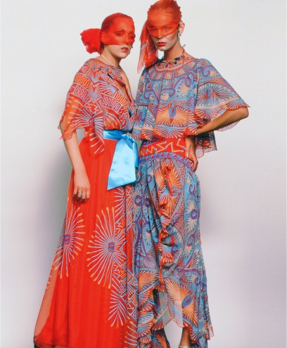 Models wearing garments from Zandra Rhdoes AW 1976 78 'Mexican' collection
