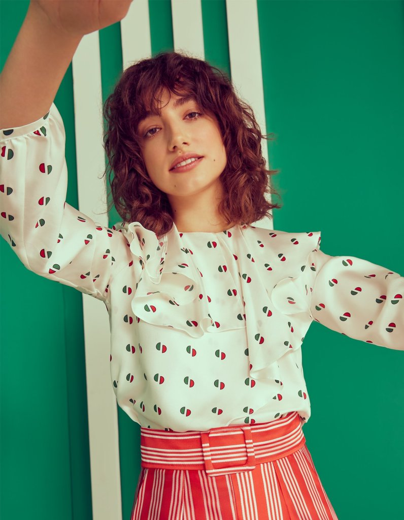 Playful ditsy geometric prints mixed with stripes